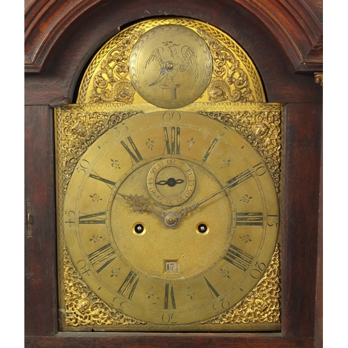 31 - 18th century mahogany pagoda topped long case clock with eight day five pillar movement striking on ...