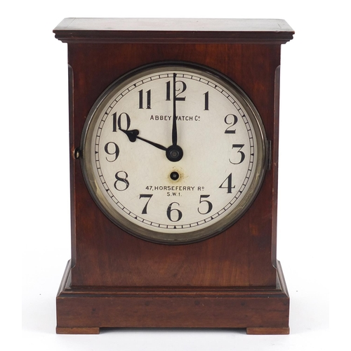 35 - Victorian mahogany bracket clock, the circular painted dial with Arabic numerals inscribed Abbey Wat...
