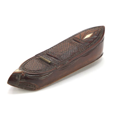 122 - 19th century carved treen shoe snuff box with ivory inlay, 10.5cm in length...
