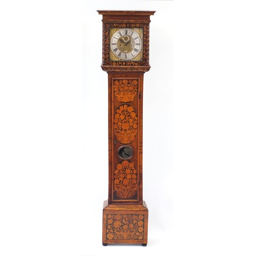 30 - William III burr walnut and floral panel marquetry eight day long case clock by Joseph Windmills of ...