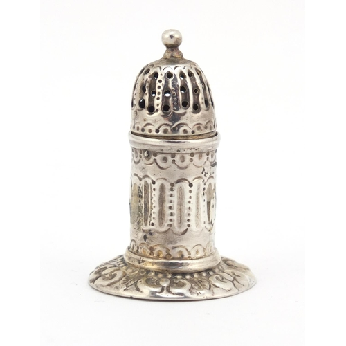 459 - Henry William Curry, Victorian silver peperette in the form of a lighthouse with repousseé work, Lon...