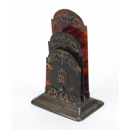 45 - Victorian silver and tortoiseshell letter rack with foliate  decoration, Horton & Allday, Birmingham...