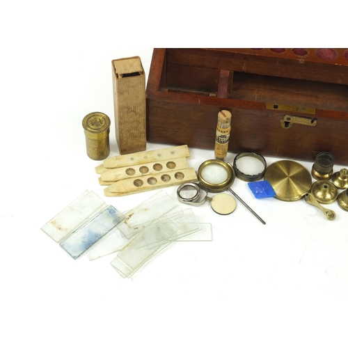 57 - Victorian brass drum microscope by Gogerty of Fleet Street London with lenses and accessories, house...