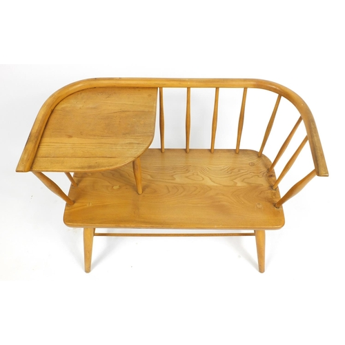 1308 - Ercol design light elm telephone seat table, 66cm H x 87cm W x 46cm D...
