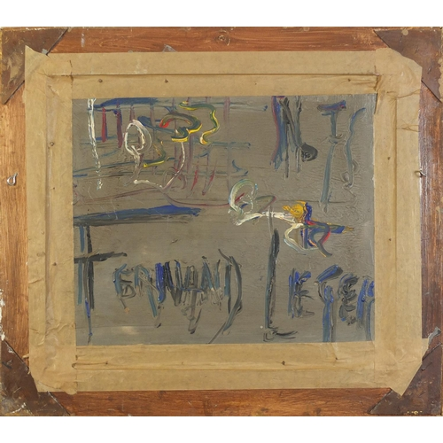 31 - Abstract composition, surreal figures, French Impressionist oil on board, framed, 53cm x 44cm exclud...