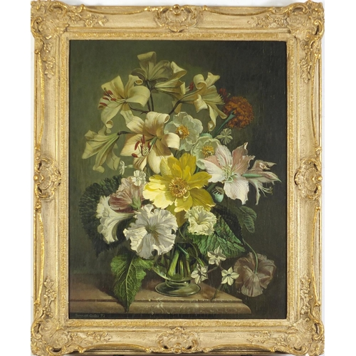 29 - Bennett Oates 1973 - A flower piece, lillies in a vase, oil on board, inscribed Stacey Marks label v...