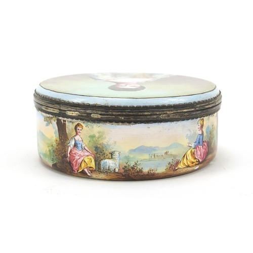 43 - 18th century continental silver mounted enamel box and cover, probably French, the lift of lid paint...