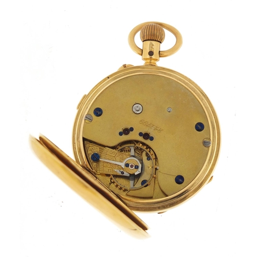 11 - Gentlemen's 18ct gold open face chronograph pocket watch, the movement numbered 241799, 50.5mm in di...