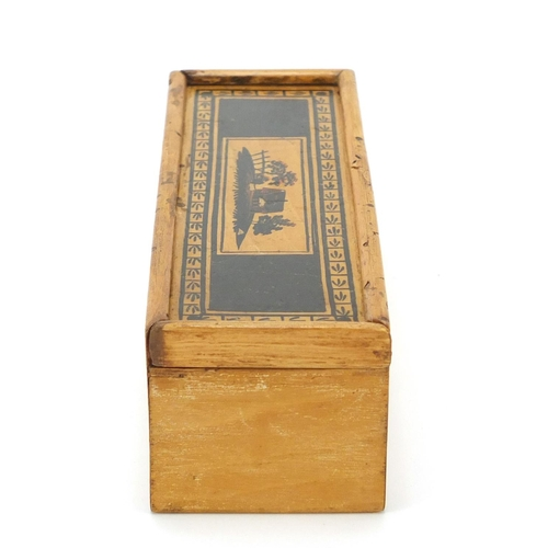 53 - Early Georgian Tunbridgeware whitewood cotton reel box painted with a cottage and trees, 17cm wide...