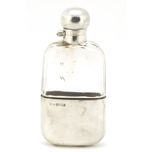 23 - James Dixon & Sons Ltd, Edward VII silver and cut glass hip flask with detachable cup, Sheffield 191...