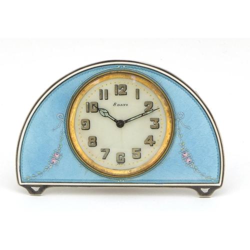 20 - Continental silver and blue guilloche enamel eight day strut clock, the clock impressed S Child & Co...