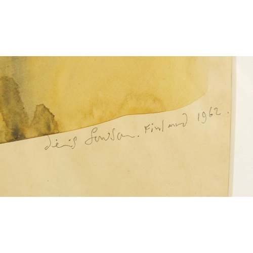1174 - Pierre Poika - Young boy turned away, Finnish watercolour, signed and dated, mounted, framed and gla...