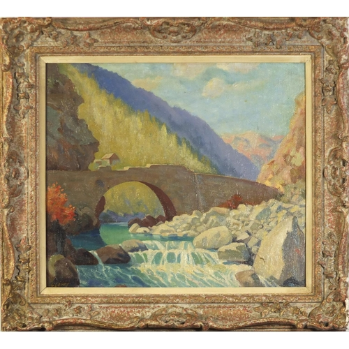 119 - C Carey - Highland bridge before mountains, oil on canvas, mounted and framed, 49cm x 42cm excluding...