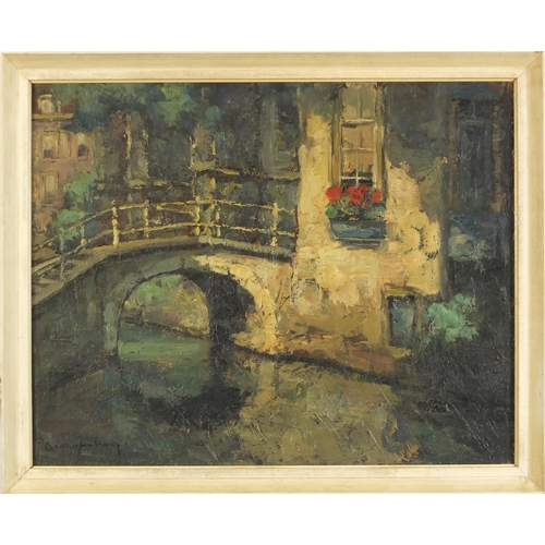 1172 - Canal scenes, pair of Dutch school oil on canvasses, each bearing indistinct signatures, framed, 48....