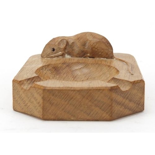 4 - Robert Mouseman Thompson adzed oak ashtray carved with a signature mouse, 10cm wide...