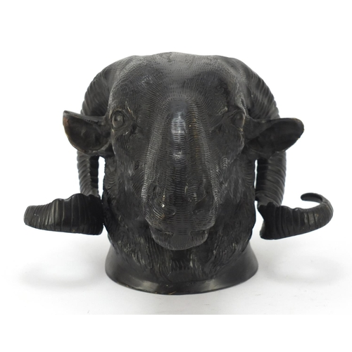 59 - Patinated bronze ram's head wall mount, 18cm high...