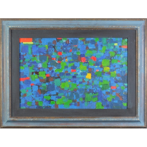 30 - Geoffrey Raymond Reeve - Abstract composition,  oil on canvas laid on paper, mounted and framed, 58c...
