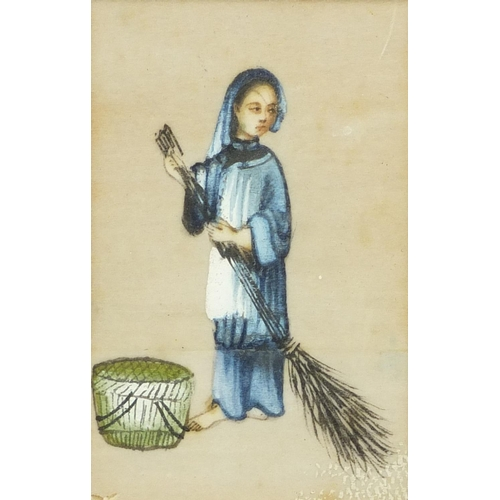 121 - Five Chinese rice pith paper paintings of workers, mounted, framed and glazed as one, each 10cm x 6c...