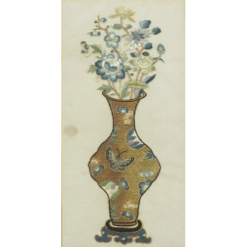 120 - Pair of Chinese silk embroideries on rice pith paper of flowers in vases decorated with butterflies,...