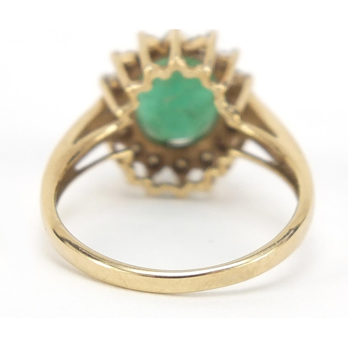 16 - 9ct gold, emerald and cubic zirconia ring, size L, 2.6g...
