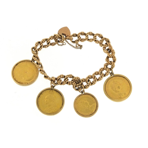 14 - 9ct gold bracelet mounted with three gold sovereigns and a half sovereign comprising 1889,1909, 1979...