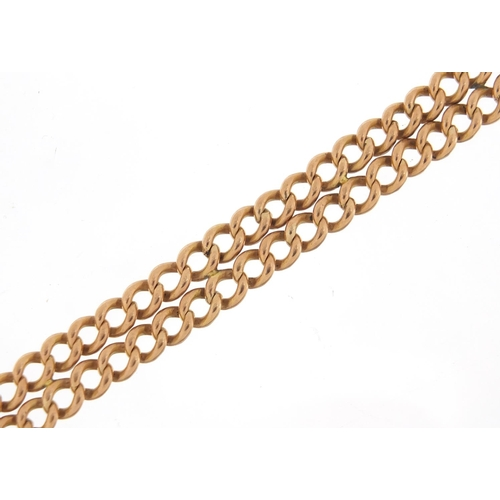 67 - 9ct rose gold watch chain bracelet, 21cm in length, 31.8g...