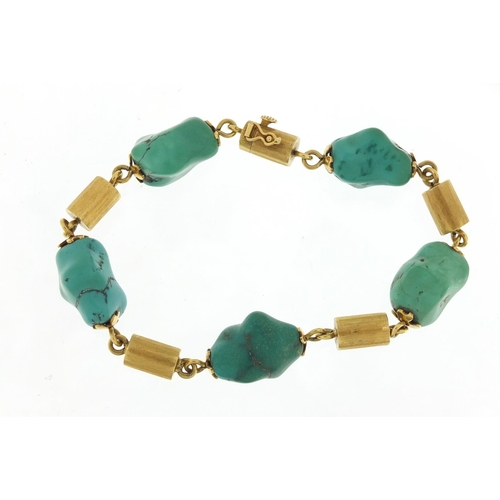 41 - Designer 18ct gold and turquoise bracelet, 22cm in length, 41.2g...