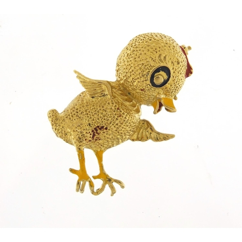 110 - Novelty 18ct gold and enamel chick brooch, 3.5cm in length, 7.7g...