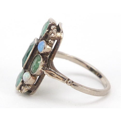 69 - Silver ring set with emeralds and opals, size K, 4.0g...