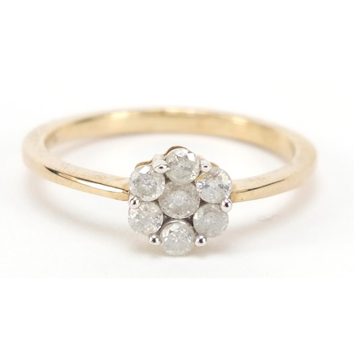 42 - 9ct gold diamond flower head ring, size Q, approximately 0.5 carat in total, 2.4g...