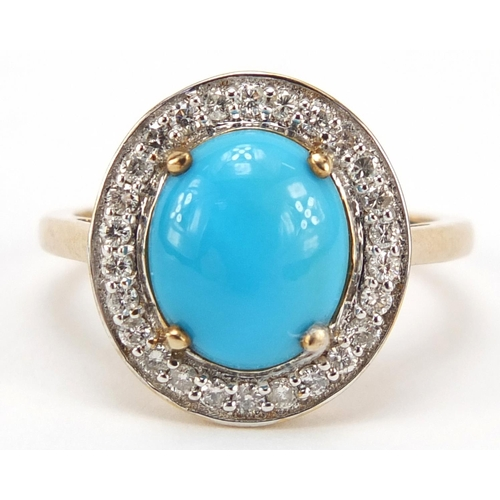 109 - 9ct gold cabochon turquoise and diamond ring, size T, 4.2g...