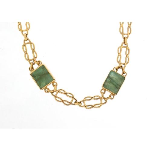 13 - Designer 18ct gold emerald necklace, 44cm in length, 25.8g...