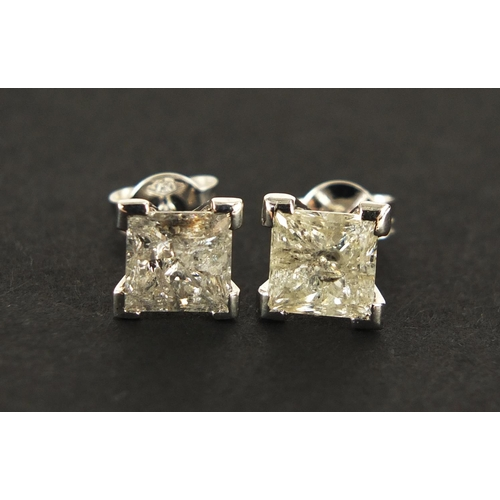 38 - Pair of 18ct white gold princess cut diamond stud earrings, approximately 3 carats in total, 2.0g...
