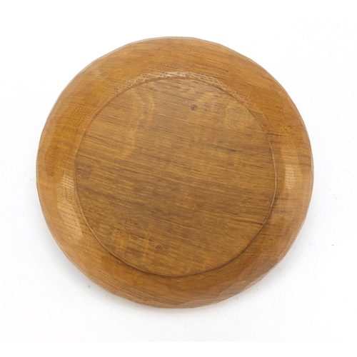 2 - Robert Mouseman Thompson adzed oak fruit bowl carved with a signature mouse, 29cm in diameter...