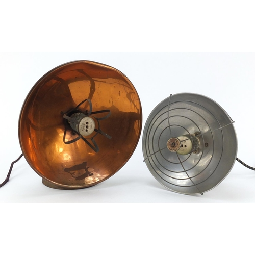 Two vintage industrial spotlights including Winfield, the largest 33cm high