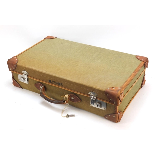 1170 - Military interest leather bound canvas suitcase, stamped marks to the interior, 25.5cm wide...