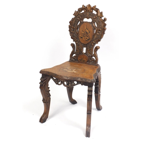 Continental hall chair inlaid with deer, 90cm high