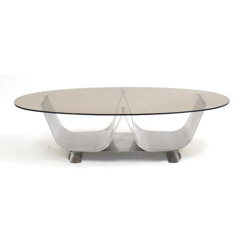 1331 - 1960's Heals design coffee table with smoked glass top and polished metal base, 32cm H x 120cm W x 1...