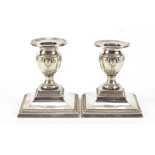 22 - Fordham & Faulkner, pair of Edward VII silver dwarf candlesticks, Sheffield 1912, 8.5cm high, 346.0g...
