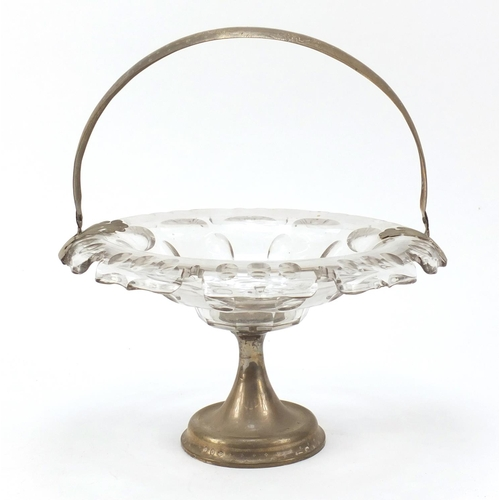 50 - 19th century French cut glass baskey with silver swing handle and pedestal, 28cm in diameter...