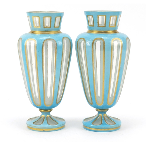 51 - Pair of 19th century French blue opaline vases with gilt borders, 22cm high...
