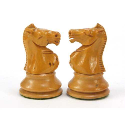 56 - Boxwood and ebony Staunton chess set, possibly by Jacques, with mahogany box, the largest piece 8cm ...