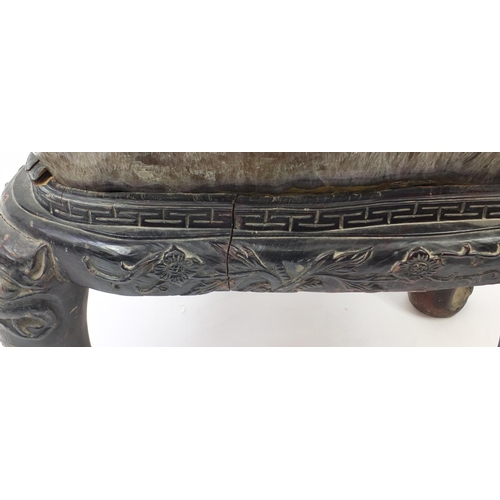 1309 - Large Chinese carved rock crystal tea table on hardwood base, carved with mythical creatures and flo...