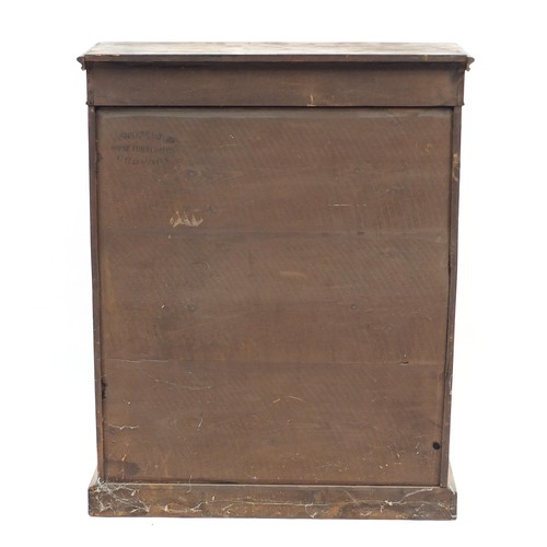 1333 - Victorian inlaid walnut pier cabinet with glazed door enclosing two shelves, 96cm H x 76cm W x 29cm ...