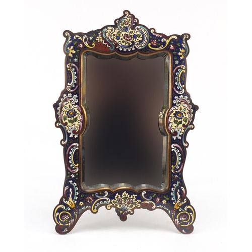 22 - French Champlevé easel mirror with bevelled plate, enamelled with stylised flowers and C scrolls, 30...