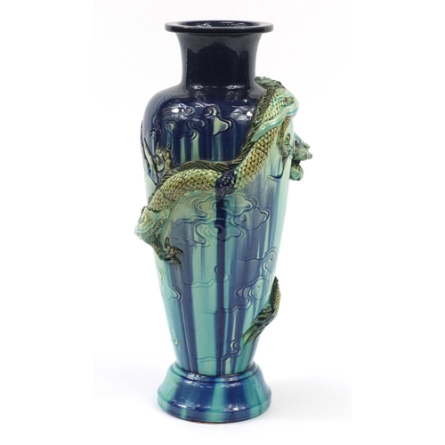 6 - Large Arts & Crafts aesthetic pottery vase decorated in relief with a dragon amongst clouds, 47cm hi...