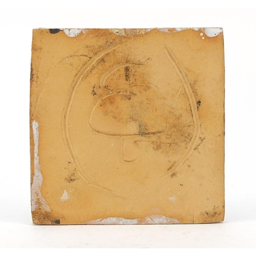 205 - Quentin Bell, 1970's scraffito tile of a female's head, 10cm x 10cm...