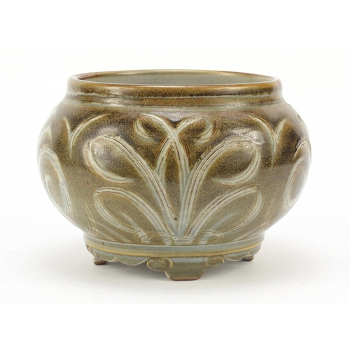 3 - Charles Vyse, 1930's stoneware squatted vase on four scroll feet, incised with stylised foliage, inc...