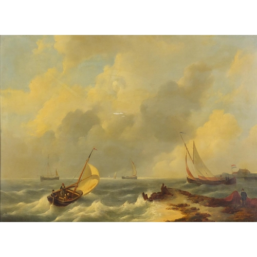 71 - Attributed to Johannes Hermanus koekkoek - A coastal scene and shipping, 19th century oil on wood pa...