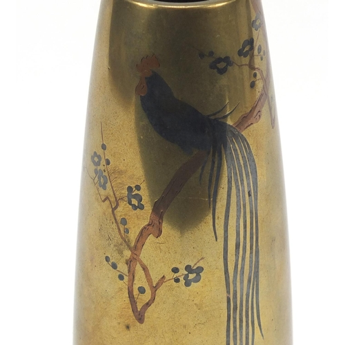 54 - Japanese bronze and mixed metal vase decorated with a rooster on a branch, character marks to the ba...